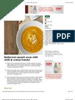 Butternut squash soup with chilli & crème fraîche recipe