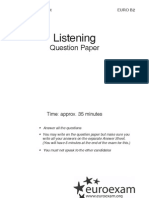Hallott szöveg értése (Listening) - Question paper