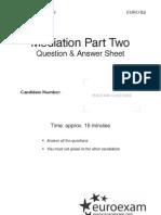 Közvetítés (Mediation) - 2. rész - Question paper + Answer sheet