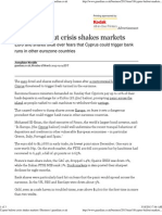 Cyprus Bailout Crisis Shakes Markets