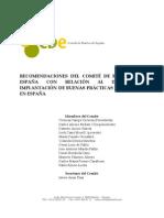 Recomendaciones del Comité de Bioética de España con relación al impulso e implantación de Buenas Prácticas Científicas en España