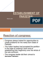 Establishment of Pakistan