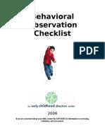 Behavioral Observation Checklist