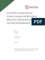 Eficienţa autorităţilor publice locale din Republica Moldova- importanţa şi factorii determinanţi
