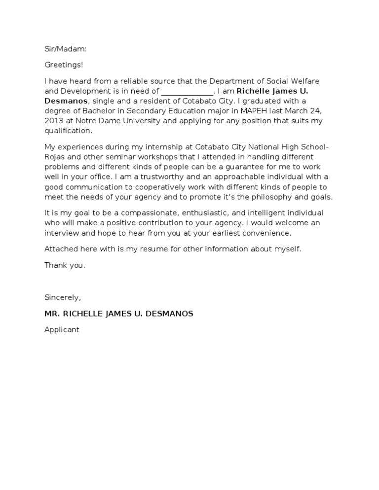application letter nso dswd - Different Format Of Application Letter