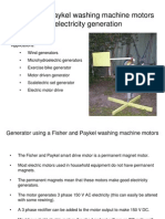 Fisher and Paykel washing machine motors for electricity generation