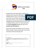Volleyball Referee Course Consent Form