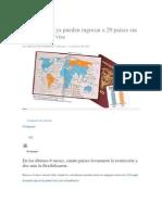 Colombianos ya pueden ingresar a 29 países sin que les pidan visa