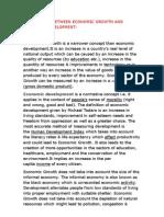 Differences Between Economic Growth and Economic Development