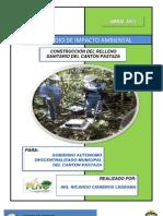 2013 - Borrador Del Estudio de Impacto Ambiental, Proyecto Construccion Relleno Sanitario Canton Pastaza