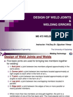Design of Weld Joints and Welding Errors
