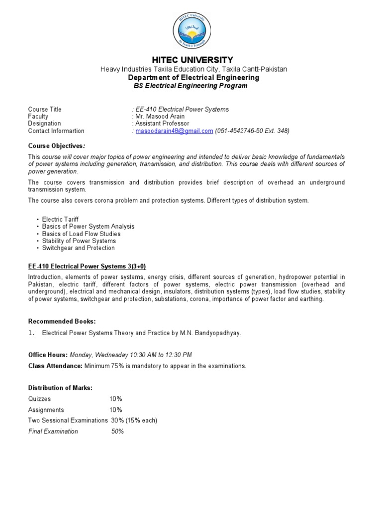 Course Outline - Electrical Power Systems.doc | Electric Power ...