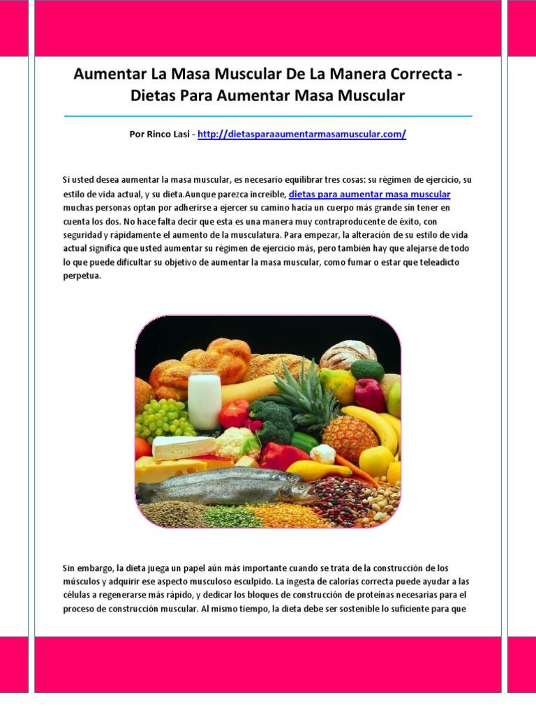 Dietas para aumentar masa muscular rapido