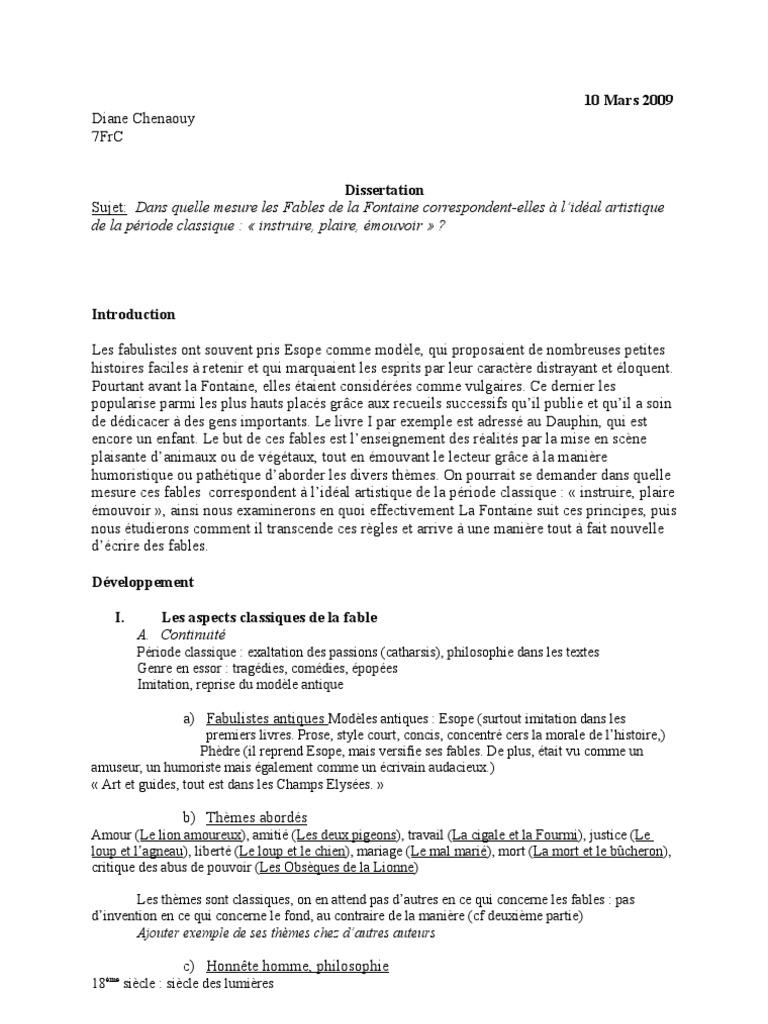 Dissertation Fables de La Fontaine | Fable | Fables de La ...