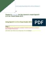 Installing open cv 2.4.5 using visual studio 2010 / 2012 in Windows 7 / 8