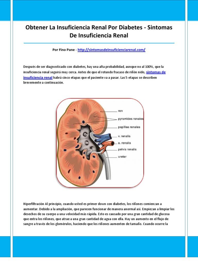 síntomas renales y diabetes