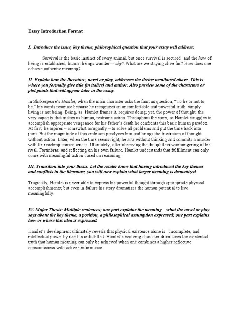 Essay Intro  Hamlet  Essays