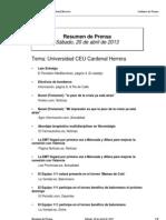 Resumen Prensa CEU-UCH 20-04-2013