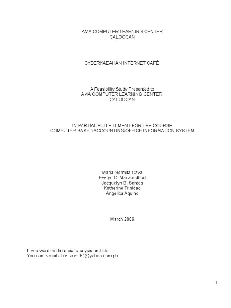 A Feasibility Studies of Cyberkadahan Internet Cafe   Depreciation ...