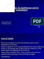 Concept and significance of Cost of capital and its computation