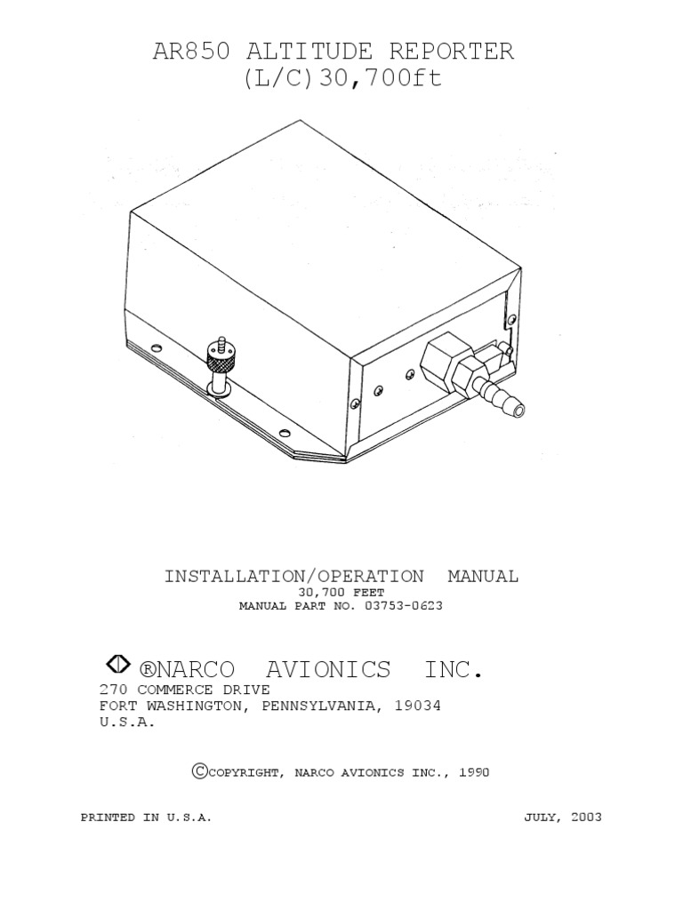 AR850 15Pin Manual 1 | Altimeter | Electrical Connector on