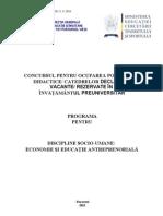 Economie Si Educatie Antreprenoriala Programa Titularizare 2010  valabil si in 2013