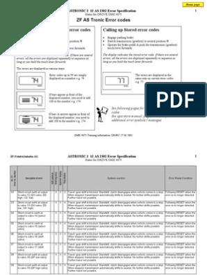 ZF ASTronic Error Codes   Transmission (Mechanics)   Clutch