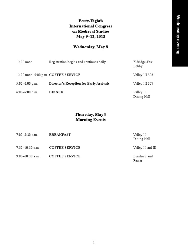 ICMS Schedule 2013 | Middle Ages | King Arthur