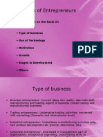 Classification and Types of Entrepreneurship