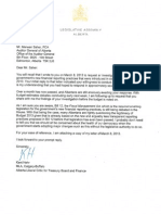 Letter to the Auditor General, April 19 2013