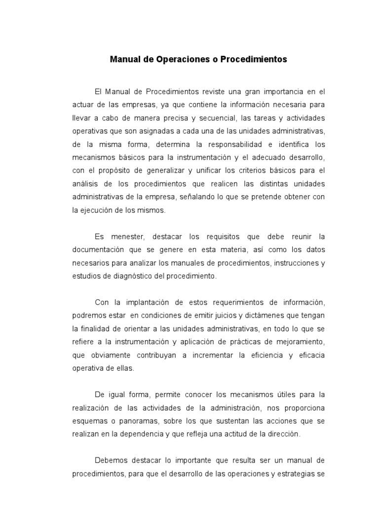 manual de operaci n o procedimientos rh scribd com ejemplo de manual de operaciones rpas pdf manual de operaciones de un hotel ejemplo