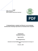 Evaluating Business continuity and Disaster recovery planning in information technology departments in Palestinian listed companies