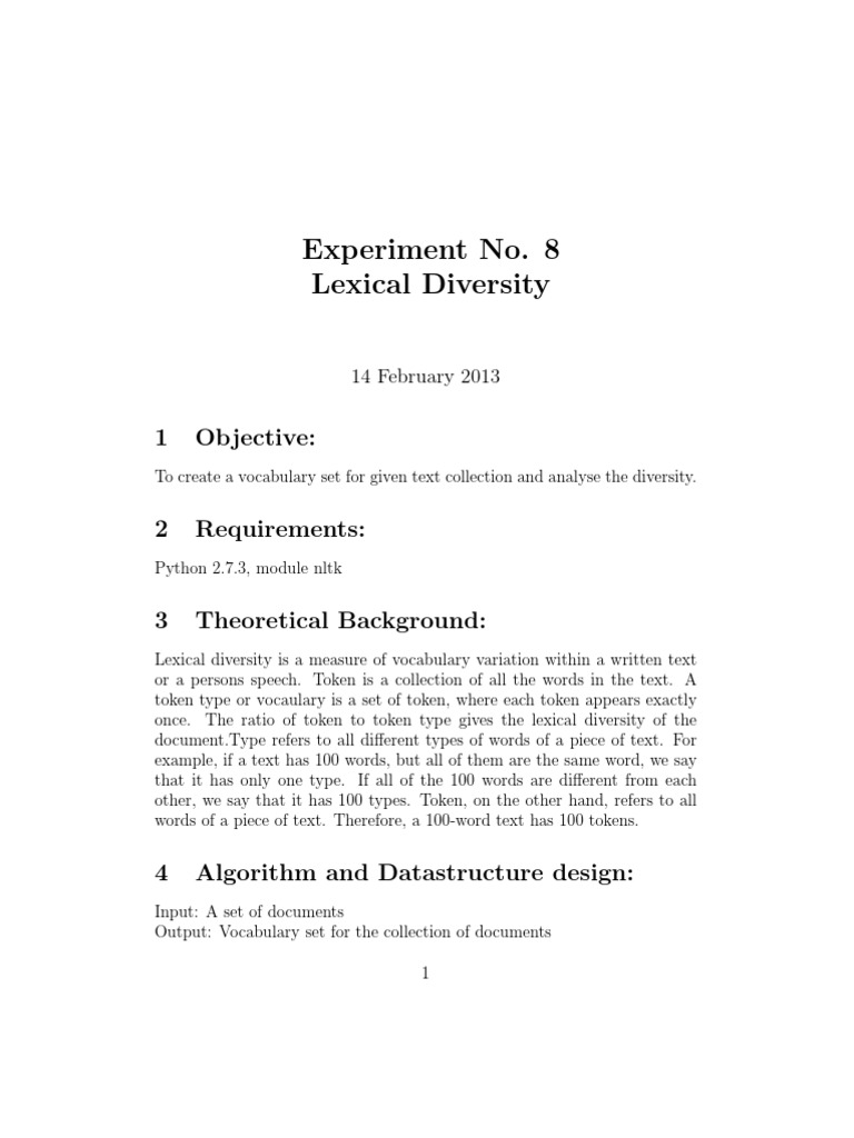 Lexical Diversity   String (Computer Science)   Sequence