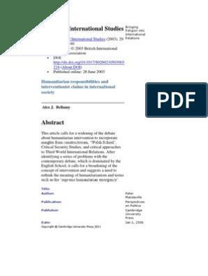Review of International Studies | Interventionism (Politics