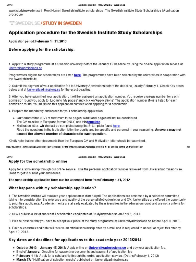 Application procedure study in sweden sweden university and application procedure study in sweden sweden university and college admission further education spiritdancerdesigns Images