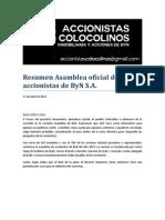 Resumen Asamblea ByN 2013