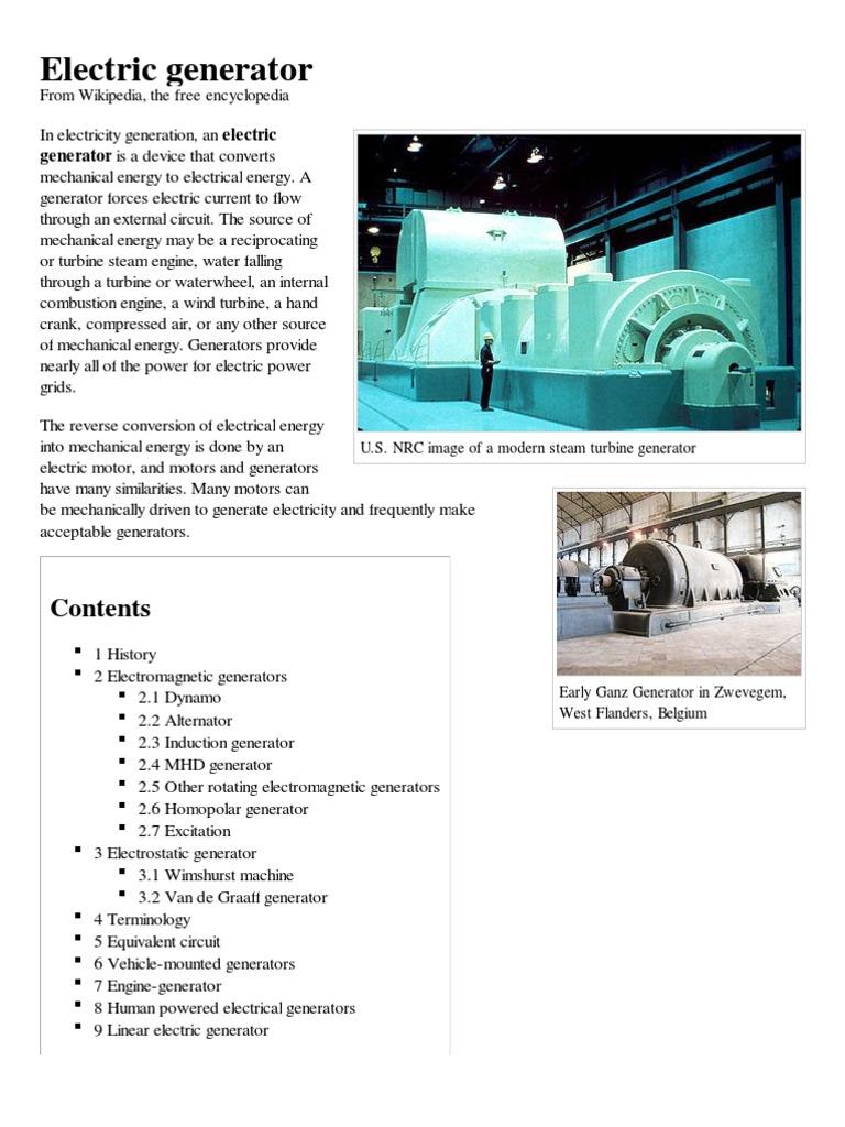 Electric Generator Electricity Electrical Generators