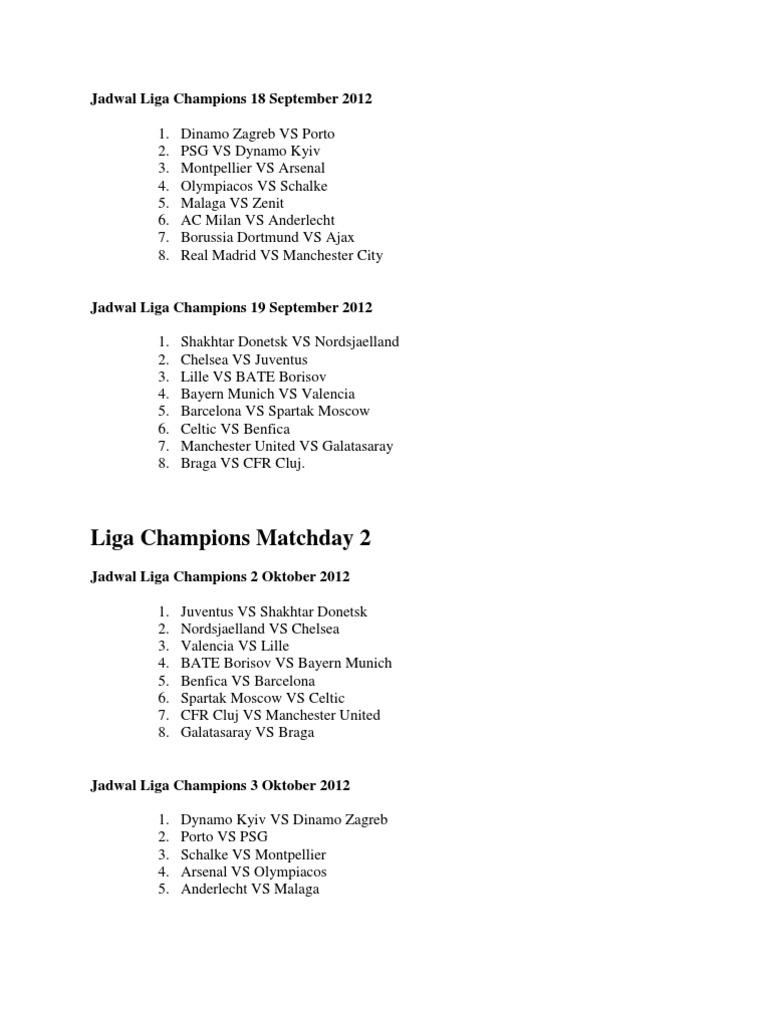 Jadwal Liga Champions 2012 2013 Fc Barcelona Sports Organisations