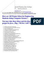 105 Project Ideas for Industrial Training for Computer Science Students