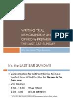 Writing Trial Memorandum and Legal Opinion