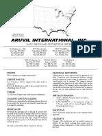 Aruvil Internatinal Product catalog 2009