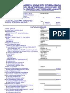Blanko Surat Keterangan Untuk Nikah Model N 1xls