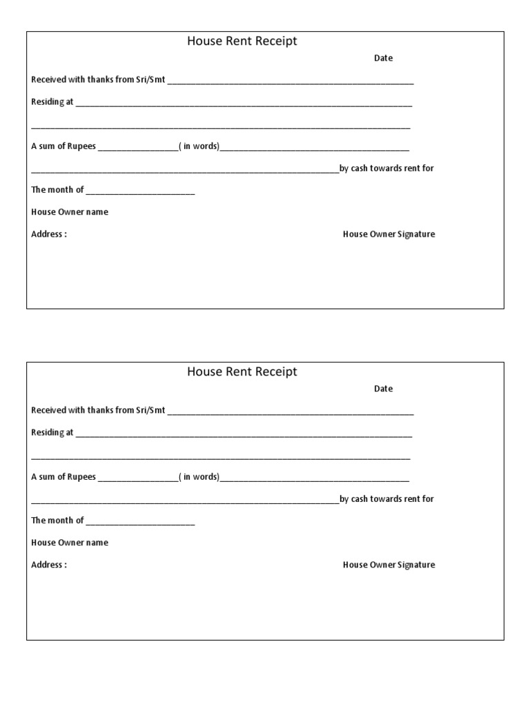 rental receipt format doc