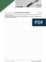 Delf Pro b1 Production Ecrite Exercice