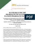 Bayer Healthcare Pharmaceuticals vs Watson Pharmaceuticals