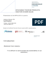 World Tourism Forum Lucerne 2013_Advertising Sustainable Tourism Products_Research Findings for Higher Sales