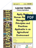 Apply basic human resource management principles and practices 116160 Learner Guide