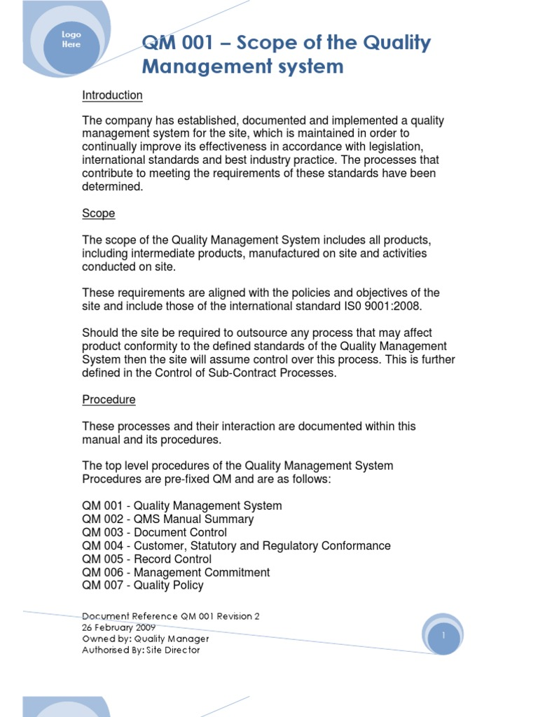 Example 2 qm 001 quality management system scope quality example 2 qm 001 quality management system scope quality management quality management system publicscrutiny Gallery