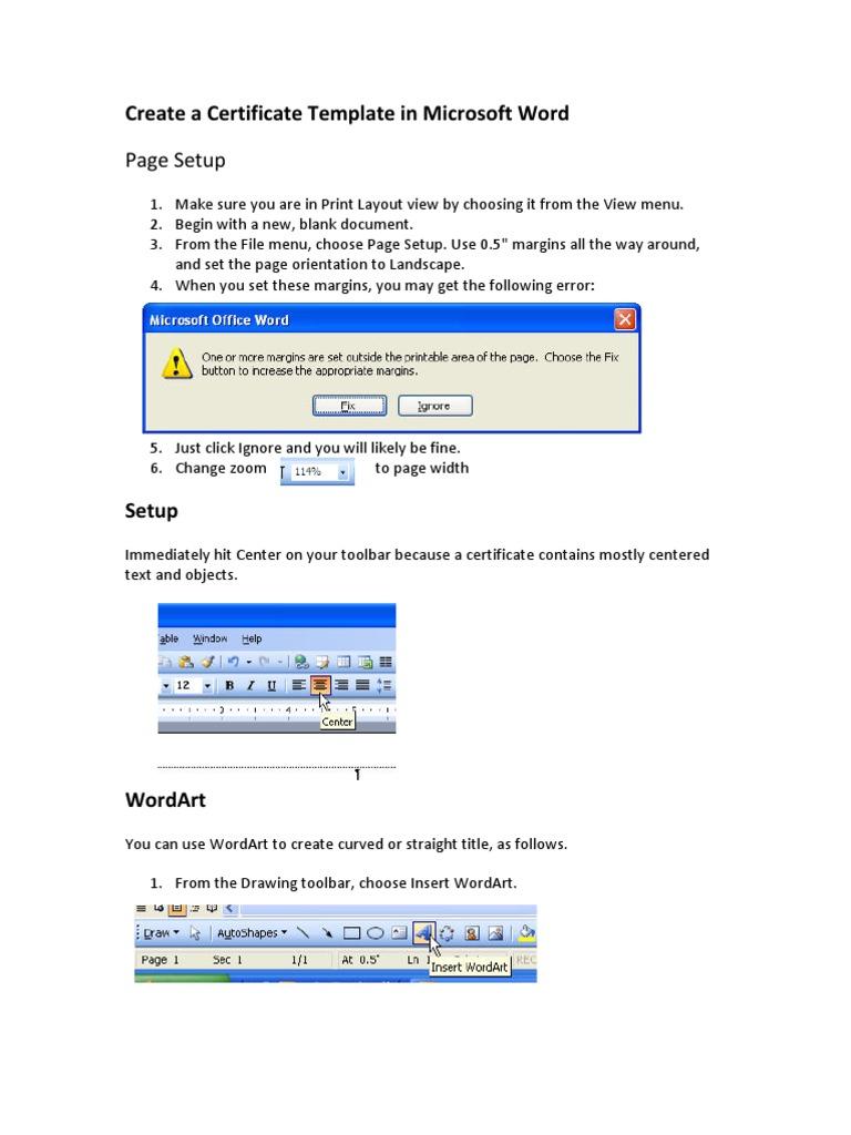Create A Certificate Microsoft Word Microsoft Windows