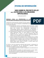 Argumentario sobre el Proyecto de Ley de Protección a los Deudores Hipotecarios